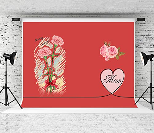 Kate 7x5ft Happy Mother's Day Photography Backdrop Red Rose Carnation for Mothers Background Photo Booth Props]()