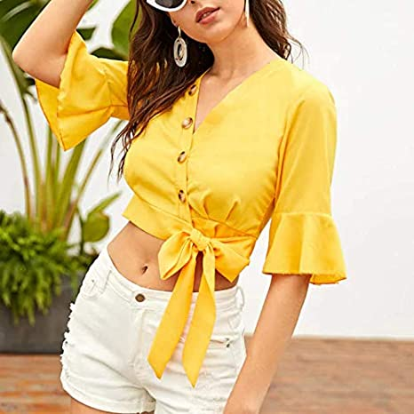 CHZDNSCS Camisa Dama Moderna con Cuello En V Crop Top Mujer Elegante Blusa Ropa De Mujer Media Manga De Verano Slim Fit Top: Amazon.es: Deportes y aire libre