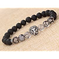 Fashion Women Mens Black Matte Agate Silver Lion Head Bracelet 7/8mm Beads New