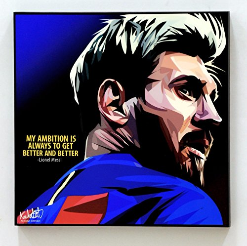 (Lionel Messi Barcelona Football Soccer Poster POP ART canvas Quotes wall decals framed)
