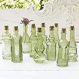 Vintage Glass Bottles with Corks, Bud Vases, Assorted Shapes, 5 Inch Tall, Mini Vases, Set of 10 Bottles, (Green)