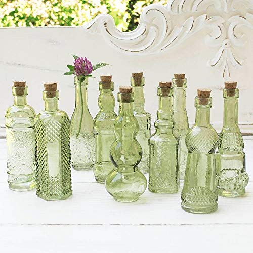 Vintage Glass Bottles with Corks, Bud Vases, Assorted Shapes, 5 Inch Tall, Mini Vases, Set of 10 Bottles, (Green) (Assorted Vases)