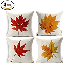 Maple Leaves Throw Pillow Covers - Wonder4 Fall Decor Colorful Maple Leaves Cushion Cover Decor Autumn Leaf Pillow Cases Cotton Linen for Home Sofa Bedding 18x18 inches Set of 4
