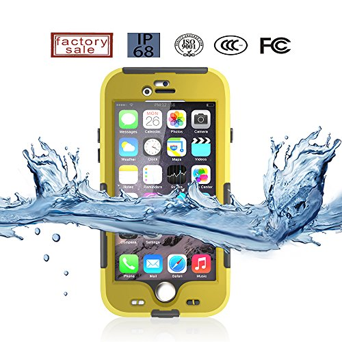 Crazy Genie Slim Ultra-thin Waterproof Case Built-in Screen Protector Case Cover for Apple iPhone 6 - Touch/Fingerprint ID IP68 Waterproof Dirtproof Snowproof Shockproof Durable Full Sealed Protection Case (Yellow)