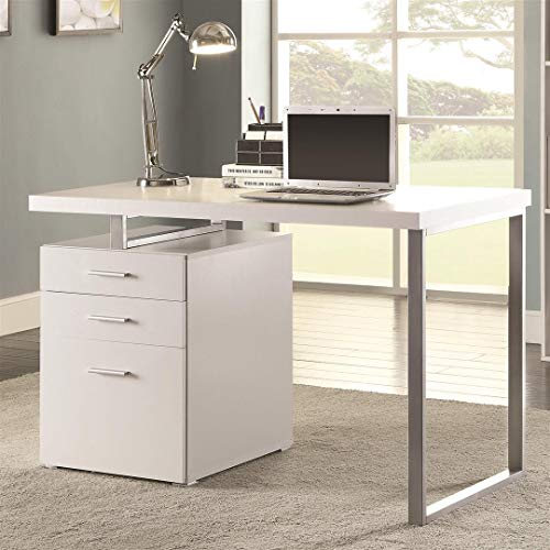 Writing Desk with File Drawer and Reversible Set-Up White and Silver (Desk And File)