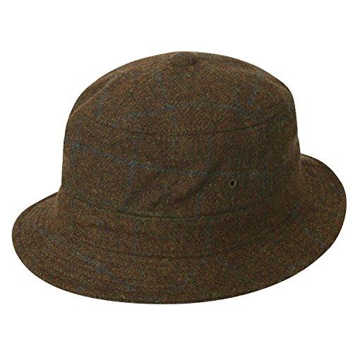 ililily Soft Checkered Crushable Pork Pie Hat Band Fisher Bucket Hat, Light Brown (Plaid Pork Pie Hat)