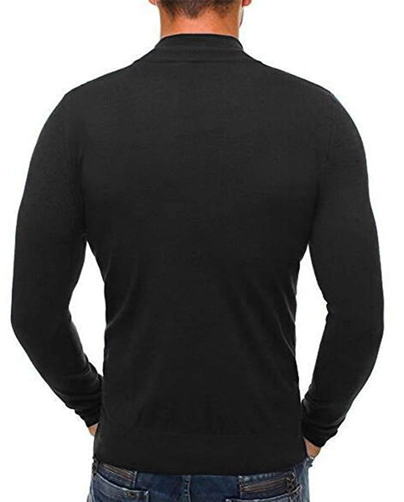 Hajotrawa Mens Knitted Stylish High Neck Zipper Stretch Pullover Jumper Sweaters