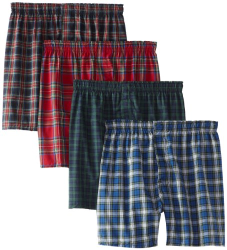 Hanes Ultimate Men's 4-Pack FreshIQ Plaid Boxer with ComfortFlex Waistband-Assorted Colors, ()