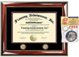 Premium Glossy Prestige Mahogany with Gold Accents Two Double Gold Seal Insignia College Graduation Gift Diploma Frame - University Certificate Matted Frame - Top mat (Black) Inner mat (Maroon)