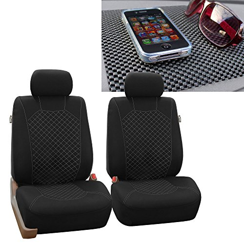 FH GROUP FH-FB066102 Ornate Diamond Stitching Car Seat Covers, White / Black with FH GROUP FH1002 Non-Slip Dash Pad- Fit Most Car, Truck, Suv, or Van