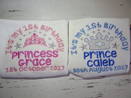 Bavoir bébé personnalisé-brodé Princess Crown-nom du bébé cadeau d/'anniversaire