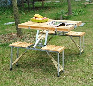 Outdoor Garden Wooden Portable Folding Camping Picnic Table With 4 (Birch Cedar Bridge)