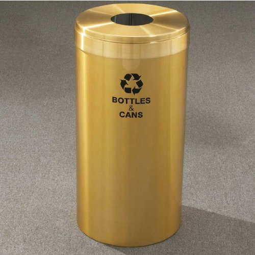 Top Dia Glass (Glaro RecyclePro Value Series Receptacle, 23 Gallon, 15 inch W, 5.5 inch Dia. hole, Glass message w/ Recycling Logo, Burgundy Finish, Matching Top, Shown in Satin Brass)