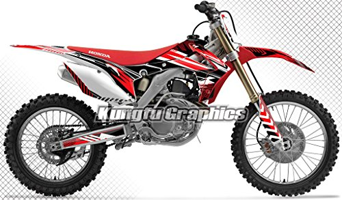 Graphic Kit Red Stock - Kungfu Graphics Custom Decal Kit for Honda CRF450R 2013 2014 2015 2016, Red White Black, Style 002