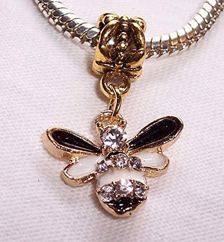 Bumblebee Bee Black White Rhinestone Gold Plated Dangle Charm for Euro Bracelets Fashion Jewelry for Women Man