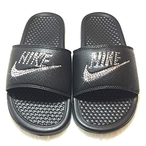 564df8969402 Image Unavailable. Image not available for. Color  Bling NIKE SLIDES with  Swarovski Crystals ALL BLACK Women s NIKE Benassi ...