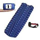 Sleeping Pad For Camping lightweight Inflatable For Backpacking by Perfect Comfort – BONUS Pillow & Headlamp Flashlight, Torchlight – Best For Sleeping Bags, Hammocks, Thermarest
