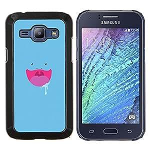 Caucho caso de Shell duro de la cubierta de accesorios de protección BY RAYDREAMMM - Samsung Galaxy J1 J100 - Cara Hungry Azul