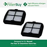 2 - Bissell Pet Hair Eraser Replacement Filters, Part # 203-7416. Designed by FilterBuy to fit Bissell Pet Hair Eraser Hand Vac.