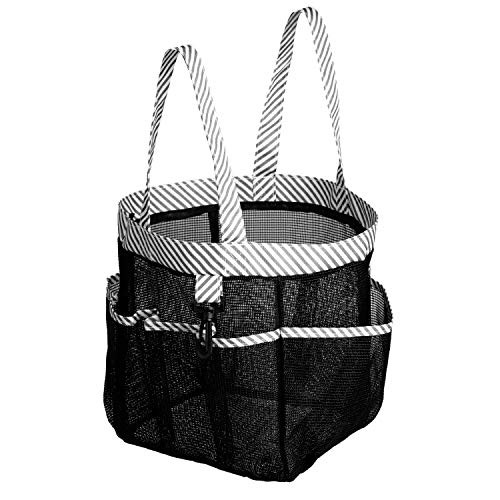 SANNO Mesh Shower Caddy Tote,College Bathroom Dorm Large Caddy Organizer with Key Hook and 2 Oxford Handles, Quick Hold, 8 Basket Pockets for Camp Gym, Black