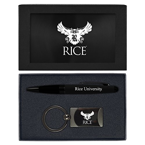 Rice Twists (Rice University -Executive Twist Action Ballpoint Pen Stylus and Gunmetal Key Tag Gift Set-Black)