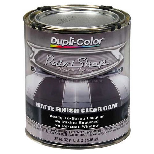 Dupli-Color Paint Shop Finish System Clear Top Coat Matte Finish Clear Coat 32 Oz. Quart - Lot of 2