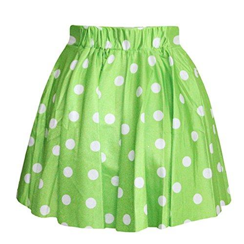 AvaCostume Women's High Waisted Candy Colors Polka Dot Skirt, Green - Green Polka Dot Skirt
