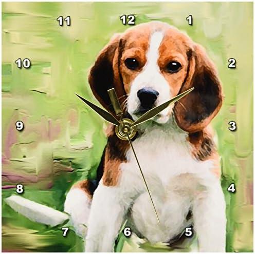 3dRose LLC Beagle Puppy Desk Clock, 6 by 6-Inch