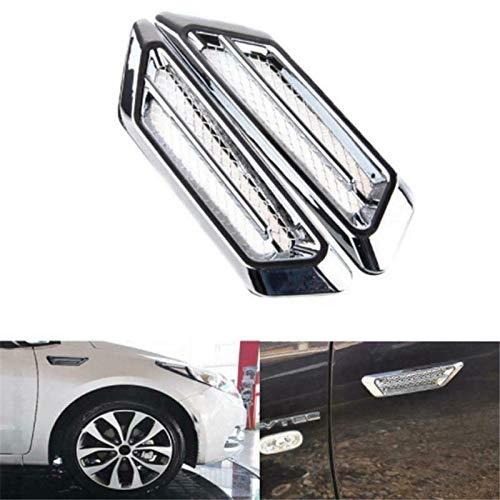 elegantstunning 1 Pair Universal Side Mesh Cover Shark Gills Auto Sticker Car Hood Fake Air Outlet Decoration Stickers Silver