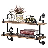 Homode Industrial Floating Shelves, 2 Tier Iron Pipe Wood Wall Shelves for Bathroom Kitchen Office, Rustic Farmhouse Decor, Dark Brown
