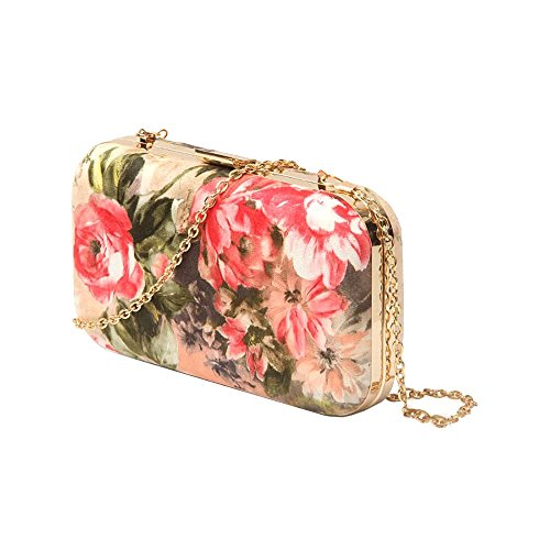 Ladies Faux Multicolour Hardcase Leather Bag Clutch Floral Party Print Green Purse AqRx1Ar