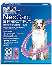 Nexgard Spectra - Flea, Tick and Worming Monthly Chew for 15.1-30kg Dog, 6 Pack