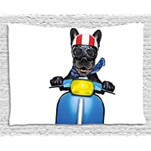 Ambesonne Dog Driver Tapestry by, Quirky French Bulldog on Scooter with Helmet Goggles Rocker Puppy, Wall Hanging for Bedroom Living Room Dorm, 60 W X 40 L Inches, Charcoal Grey Cobalt Blue
