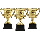 LANLONG Plastic Trophies –3 Pcs 7 Inch Cup Golden Trophies For Children, Competitions, Awards, Parties, Party favors, Props, Rewards, Prizes, Games, School, Field Day, Boys And Girls (gold, 5.5'')