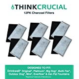 12 Drinkwell® Compatible Replacement 2-Chamber Charcoal Filters, Fits Big Dog, Everflow, Mini, Multi-Tier, Original, Outdoor Dog, Platinum, & Zen Fountains, by Think Crucial