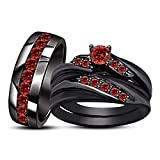 Silvernshine Jewels 18K Black Gold Silver Plated 1.85Ct Round Cut Red Garnet His & Her Trio Ring Set