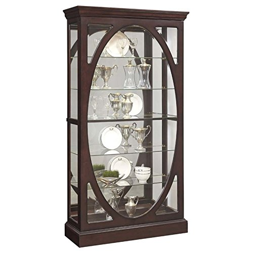 (Pulaski  Sable Oval Framed Mirrored Curio Cabinet 43.0