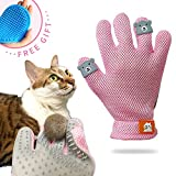 FURBB Pet Grooming Glove - Cat Dog Gentle Deshedding Brush Glove - Efficient Pet Hair Remover Massage Mitt - Enhanced Five Finger Design Perfect for Long Short Fur, Right Hand (Pink) Pet Bathing