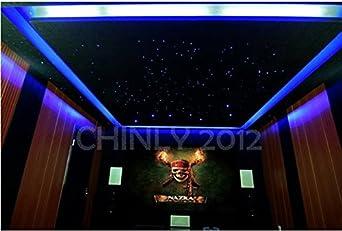 CHINLY 16W RGBW Twinkle 28key Remote LED Fiber Optic Star Ceiling Lights Lamp Kit 335 Strands Optical Fiber+Crystal Multicolored 13.1ft long X 335 strands 0.75+1+1.5mm