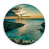 iPrint Thick Round Beach Towel Blanket,Hawaiian Decorations,Sunrise over Hanauma Bay on Oahu Hawaii Sunbeams Through Dark Clouds Shoreline,Multi-Purpose Beach Throw