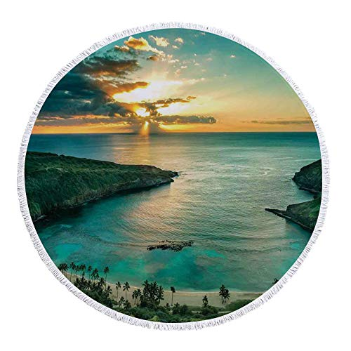 iPrint Thick Round Beach Towel Blanket,Hawaiian Decorations,Sunrise over Hanauma Bay on Oahu Hawaii Sunbeams Through Dark Clouds Shoreline,Multi-Purpose Beach Throw by iPrint