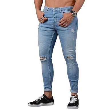 Wanyangg Skinny Jeans Herren Zerrissen Denim Hose Mit Rissen Knie