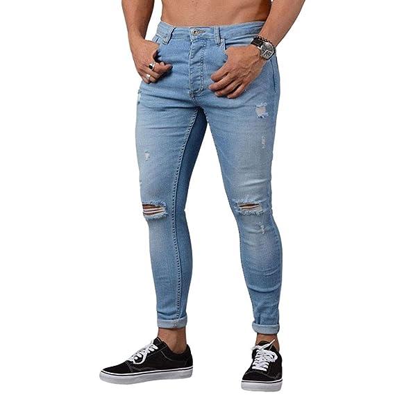 2ff13bc38aed8 WanYangg Jeans Homme avec des Trous, Hommes Super Skinny Pantalon Jeans De  Crayon Décoration De Poche Pants De Denim Slim Troué Déchiré Genou Ripped  Ville ...