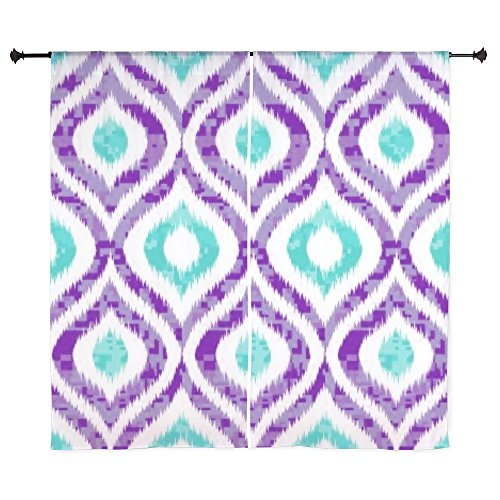 CafePress - PURPLE AND TEAL IKAT 2 COPY Curtains - 60