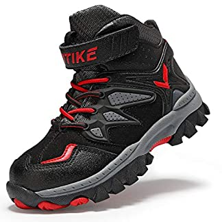 ASHION Boys' Boots Kids Hiking Warm Shoes Anti-Skid Claw Snowshoeing Walking Cilmbing boots 9