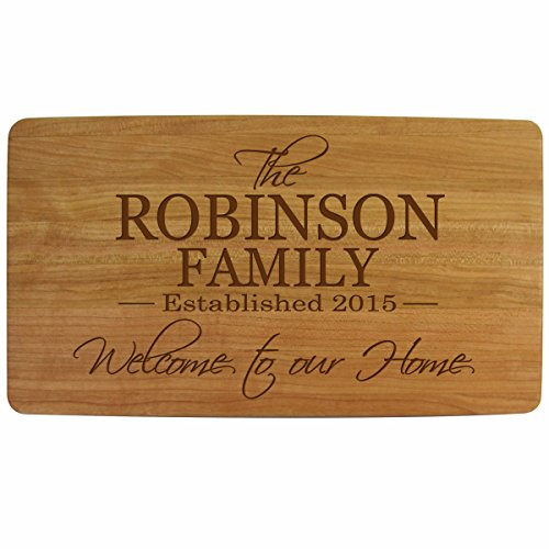Personalized Cherry wood Cutting board Welcome to Our Home Kitchen cutting board Family Established sign with last Name and Date Established by Dayspring Milestones 11.75 x 6