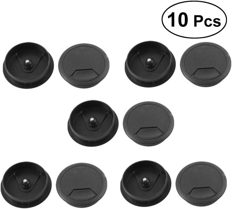 VOSAREA 10pcs Office PC Computer Desk Grommet Cable Hole Cover 50mm Diameter Black
