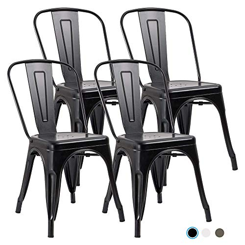 Metal Indoor-Outdoor Dining Chairs Stackable Chic Industrial Side Chairs Design Stools with Back Use for Kitchen Bistro Cafe Set of 4 (Black)