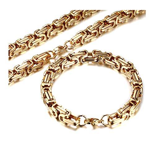 Men's Stainless Steel Mechanic Chunky Byzantine Chain Bracelet and Necklace Jewelry Set, 9