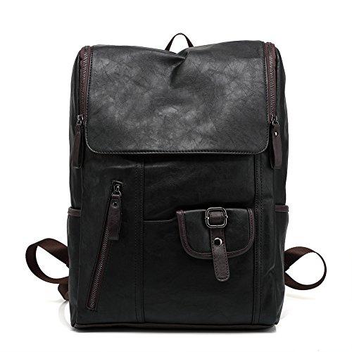 Soft PU Leather Travel bag Laptop Backpack School Rucksack(Blue) - 8